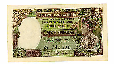 India ... P-18a ... 5 Rupees ... ND(1937) ... *VF++*