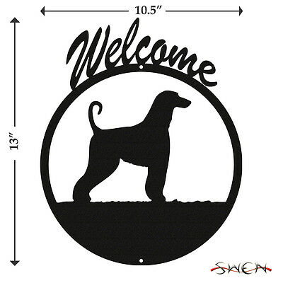 Afghan Hound Black Metal Welcome Sign *NEW*