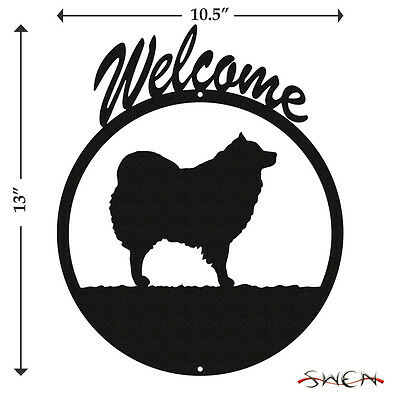 American Eskimo Dog Black Metal Welcome Sign *NEW*