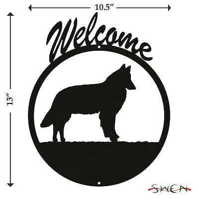 Belgian Sheepdog Black Metal Welcome Sign *NEW*