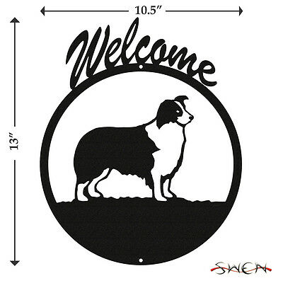 Border Collie Black Metal Welcome Sign *NEW*