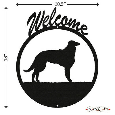 Borzoi Russian Wolfhound Black Metal Welcome Sign *NEW*