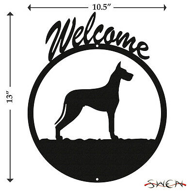 Great Dane Black Metal Welcome Sign *NEW*
