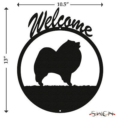 Keeshond Black Metal Welcome Sign *NEW*