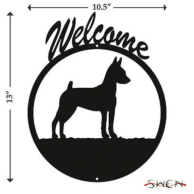 Miniature Pinscher Min Pin Black Metal Welcome Sign *NEW*