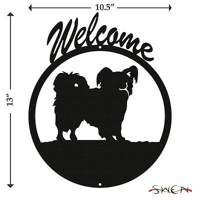 Papillon Black Metal Welcome Sign *NEW*