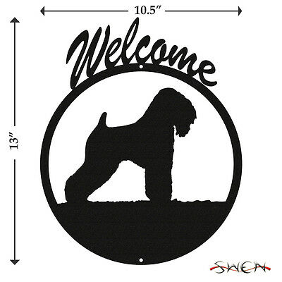 Wheaten Terrier Dog Black Metal Welcome Sign *NEW*