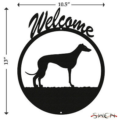 Whippet Black Metal Welcome Sign *NEW*