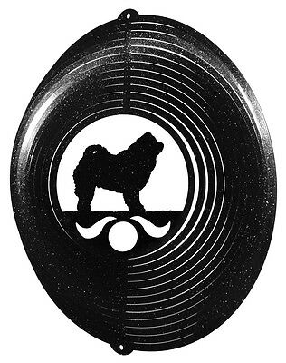 Chow Chow Dog BLACK Metal Swirly Sphere Wind Spinner *NEW*