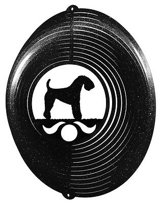 Kerry Blue Terrier BLACK Metal Swirly Sphere Wind Spinner *NEW*