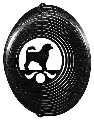Portuguese Water Dog BLACK Metal Swirly Sphere Wind Spinner *NEW*