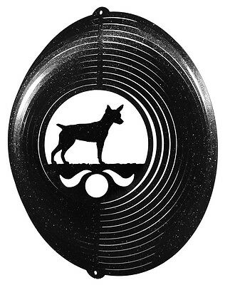 Rat Terrier Dog BLACK Metal Swirly Sphere Wind Spinner *NEW*