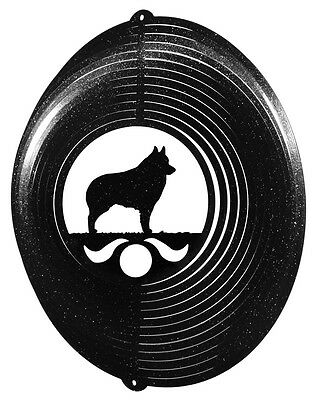 Schipperke Dog BLACK Metal Swirly Sphere Wind Spinner *NEW*
