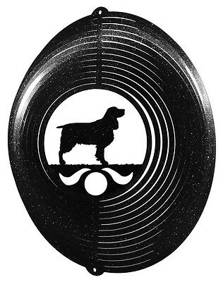 Springer Spaniel Dog BLACK Metal Swirly Sphere Wind Spinner *NEW*