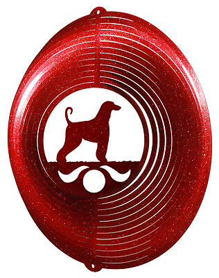 Afghan Hound RED Metal Swirly Sphere Wind Spinner *NEW*