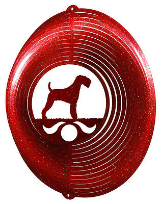 Airedale Terrier RED Metal Swirly Sphere Wind Spinner *NEW*