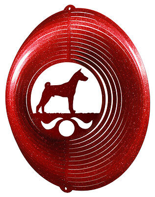 Basenji Dog RED Metal Swirly Sphere Wind Spinner *NEW*