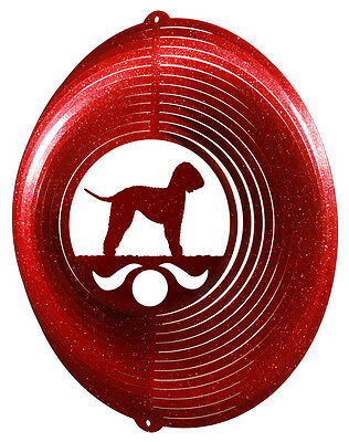 Bedlington Terrier RED Metal Swirly Sphere Wind Spinner *NEW*