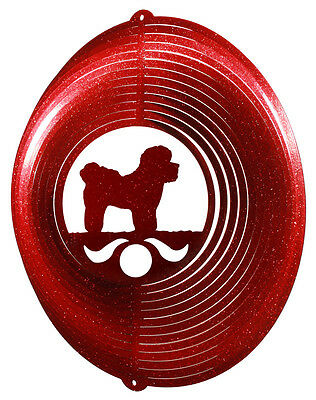 Bichon Frise RED Metal Swirly Sphere Wind Spinner *NEW*