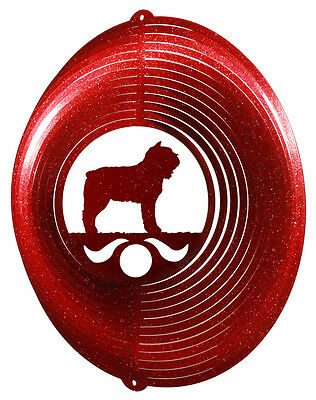 Bouvier des Flandres RED Metal Swirly Sphere Wind Spinner *NEW*