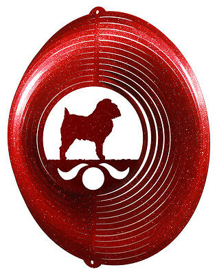 Brussels Griffon Dog RED Metal Swirly Sphere Wind Spinner *NEW*