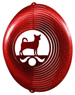 Chihuahua Dog RED Metal Swirly Sphere Wind Spinner *NEW*