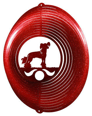 Chinese Crested Dog RED Metal Swirly Sphere Wind Spinner *NEW*