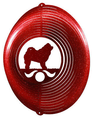Chow Chow Dog RED Metal Swirly Sphere Wind Spinner *NEW*