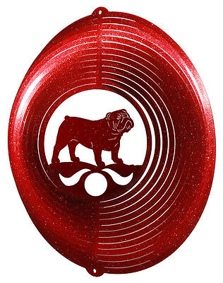 English Bulldog Dog RED Metal Swirly Sphere Wind Spinner *NEW*