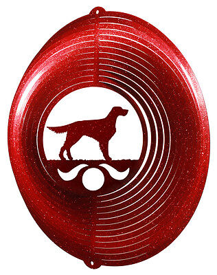 English Gordon Setter RED Metal Swirly Sphere Wind Spinner *NEW*