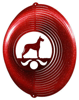 Great Dane Dog RED Metal Swirly Sphere Wind Spinner *NEW*