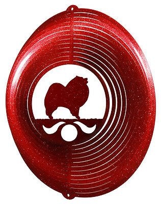 Keeshond Dog RED Metal Swirly Sphere Wind Spinner *NEW*