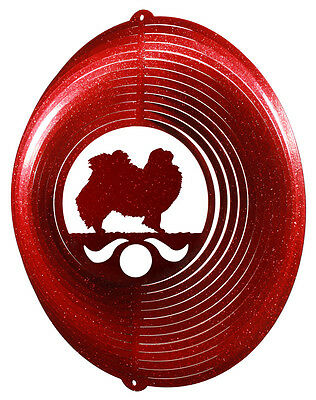 Japanese Chin RED Metal Swirly Sphere Wind Spinner *NEW*