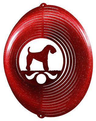 Kerry Blue Terrier RED Metal Swirly Sphere Wind Spinner *NEW*