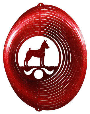 Miniature Pinscher Dog RED Metal Swirly Sphere Wind Spinner *NEW*