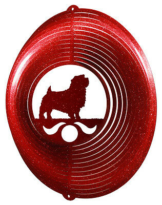 Norfolk Terrier Dog RED Metal Swirly Sphere Wind Spinner *NEW*