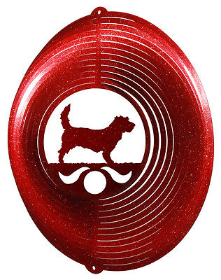 PBGV Dog RED Metal Swirly Sphere Wind Spinner *NEW*