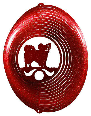 Papillon Dog RED Metal Swirly Sphere Wind Spinner *NEW*