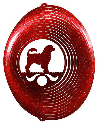 Portuguese Water Dog RED Metal Swirly Sphere Wind Spinner *NEW*