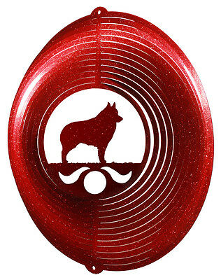 Schipperke Dog RED Metal Swirly Sphere Wind Spinner *NEW*