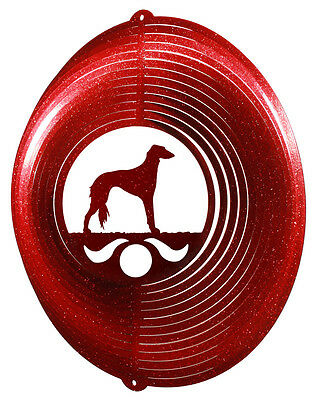 Saluki Dog RED Metal Swirly Sphere Wind Spinner *NEW*