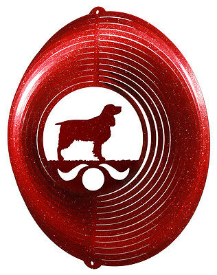 Springer Spaniel Dog RED Metal Swirly Sphere Wind Spinner *NEW*