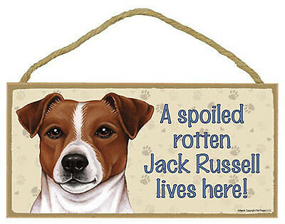 "Spoiled Rotten Jack Russell Sign Plaque Dog 10"" x 5""  gift pet lovers Terrier"