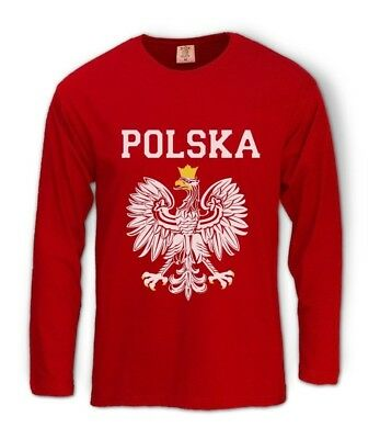 POLSKA EST WHITE EAGLE CREST Long Sleeve T-Shirt poland polish flag Football Fan