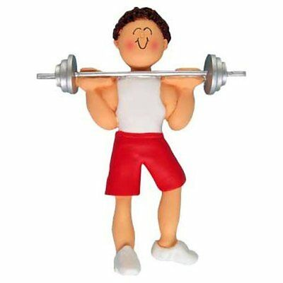 WEIGHTLIFTER WEIGHT LIFTER ORNAMENT BODY BUILDER WORKOUT GYM PERSONALIZED FREE