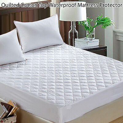 Quilted Cotton Top Waterproof Mattress Protector-Cot/Single/Double/Queen/King
