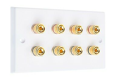 White Speaker Wall Plate Dual / Bi Wire Gold 8 Binding Posts