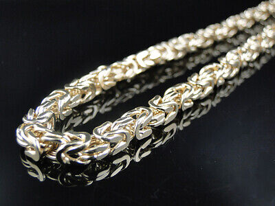 """5.5MM Premiuim Yellow Gold Finished Byzantine Chain Necklace Sterling Silver 30"""""""