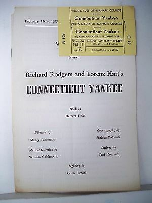 A CONNECTICUT YANKEE Playbill RODGERS & HART / Wigs & Cues BARNARD COLLEGE 1959