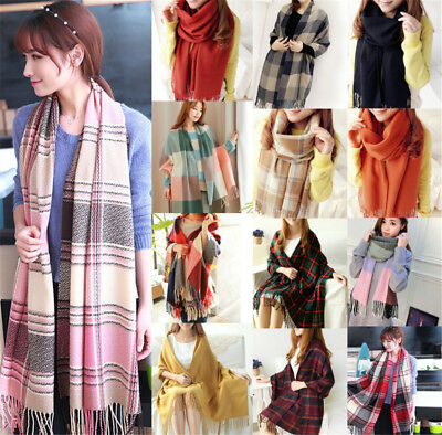 20 Colors Women Wool Tassels Plaid Checks Warm Winter Long Soft Scarf Shawl Wrap